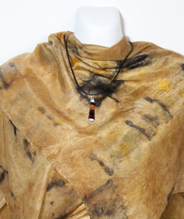 Eco Dyed Silk Scarf  Wandoo shibori-style