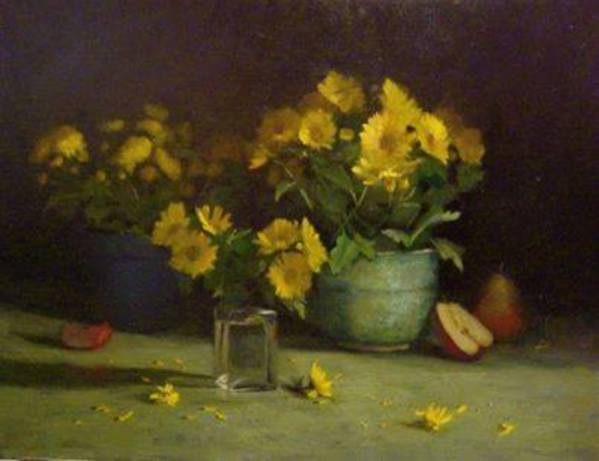Yellow Mums by susan hope fogel
