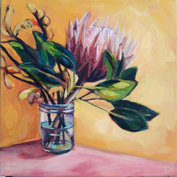 King Protea And The Kangaroo Paw by Eileen Noyer