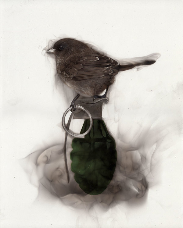 Bird on Grenade (holding pin) by Steven Spazuk