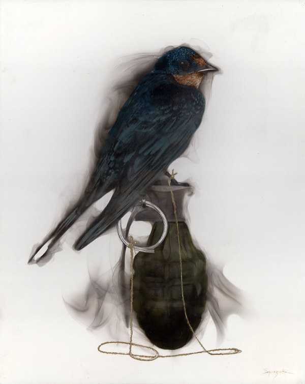 Bird on Grenade (1 Swallow attached to pin) by Steven Spazuk