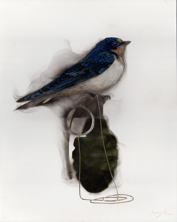 Bird on Grenade (2 Swallow attached to pin) by Steven Spazuk