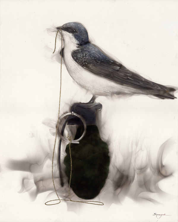 Bird on Grenade ( 1 Swallow string to pin in beak) by Steven Spazuk