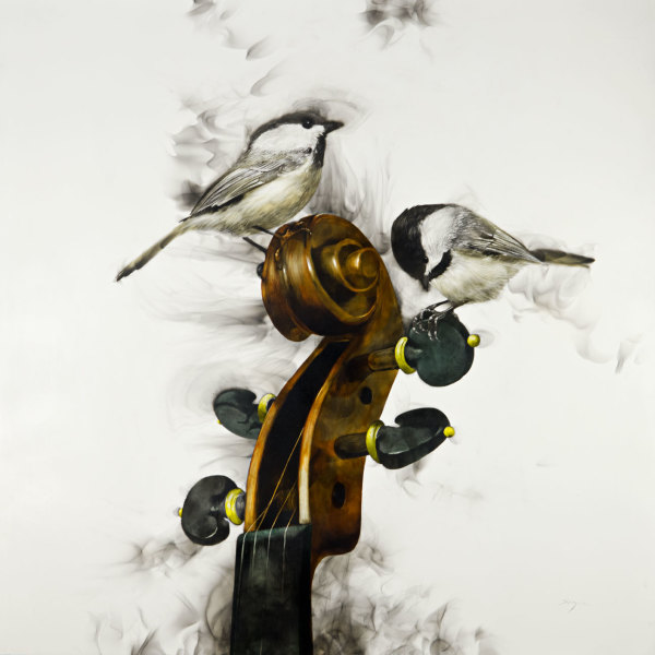 Chickadees on a Fiddlehead, 2017 by Steven Spazuk