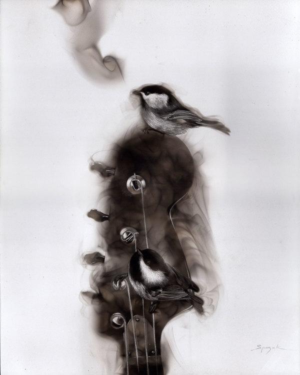 Bassguitar & the Chickadee by Steven Spazuk