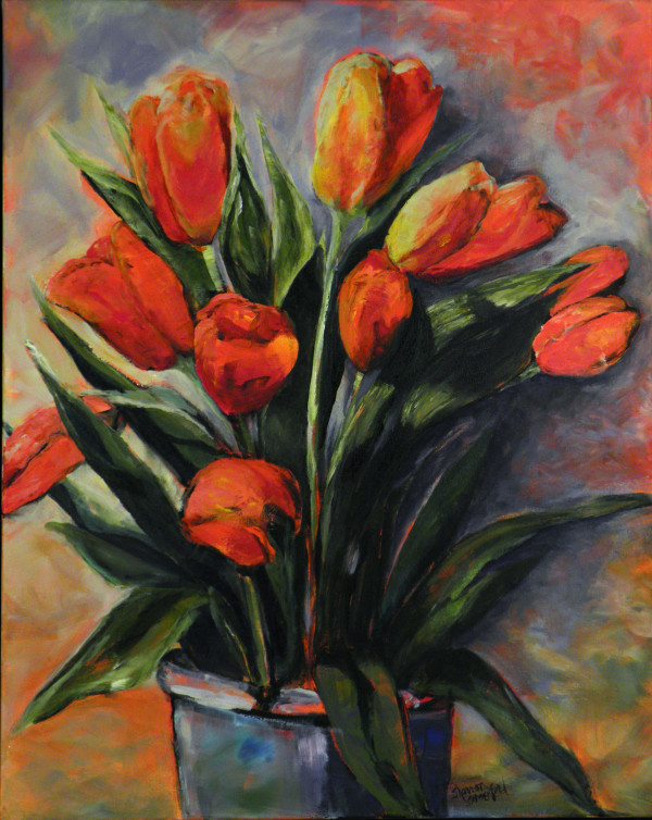 Tulips In Pot by Sharron Schoenfeld