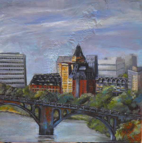 University Bridge Bessborough Hotel Saskatoon by Sharron Schoenfeld