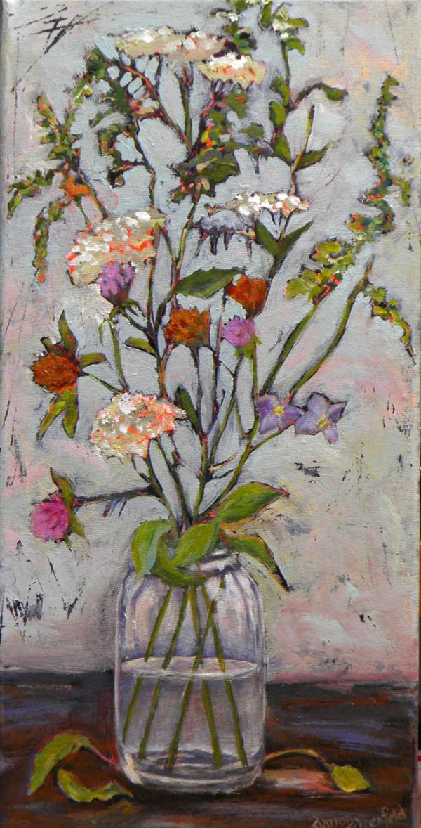 Wild Flowers Mason Jar by Sharron Schoenfeld