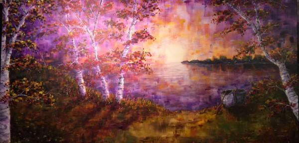 PIXELATED SUNSET LAKE by Doug Gazlay