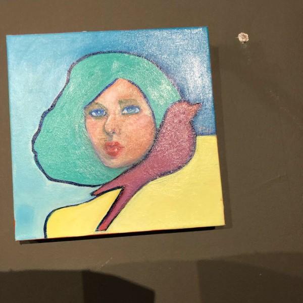 Woman with Red Bird by Judith Estrada Garcia