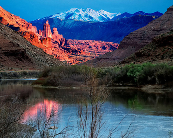 Fisher Towers at Sunset on the Colorado River by Wes Odell