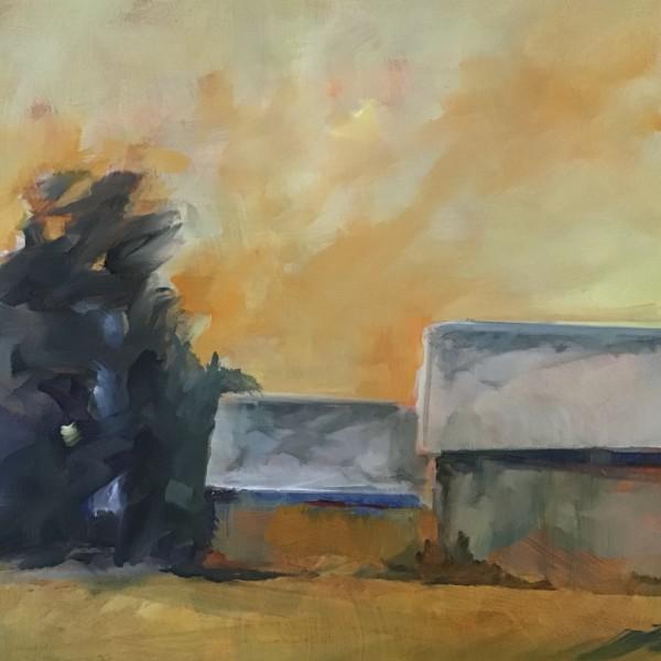 Barns, Yellow Sky by Marston Clough