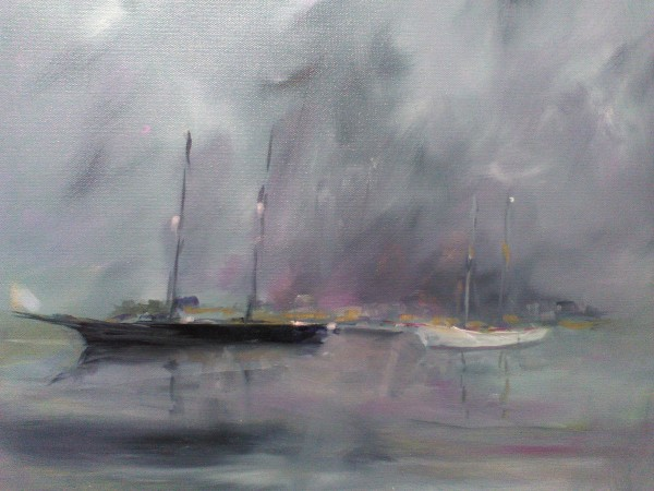 Schooners in the rain by Marston Clough