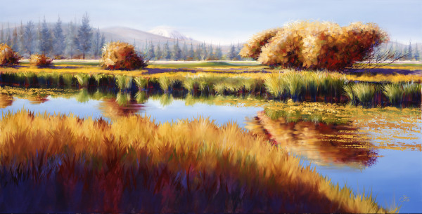 Autumn River Willows by Pat Cross