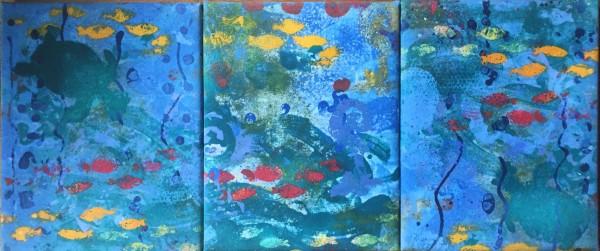 Ocean Swim Triptych by LZ Lerman