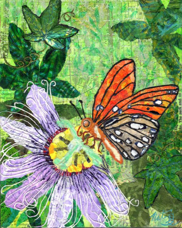A Butterfly's Passion: Gulf Fritillary and PassionFlower by Natasha Papousek