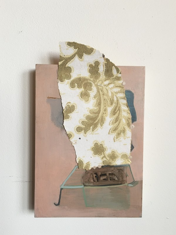 Mostly Pink Painting with Wallpaper Attachment by MaryAnn Puls
