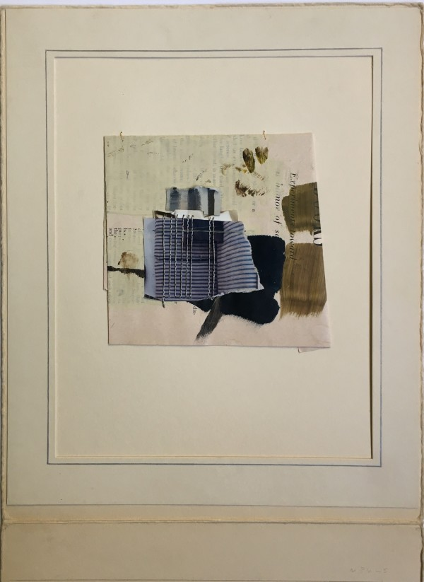 Small collage/ assemblage with vertical stitching by MaryAnn Puls