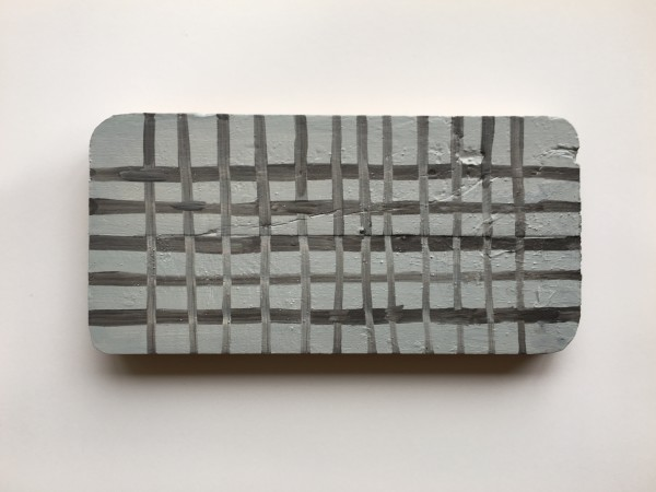 Plaid or grid over found wood shape gray over gray by MaryAnn Puls