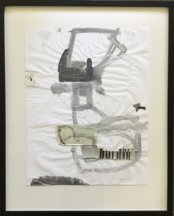 Ink on paper with stitched on collage elements by MaryAnn Puls