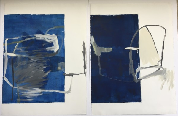 Blue Monoprint Pair by MaryAnn Puls