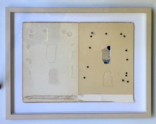 Pencil drawn shapes on found paper,  map pins by MaryAnn Puls
