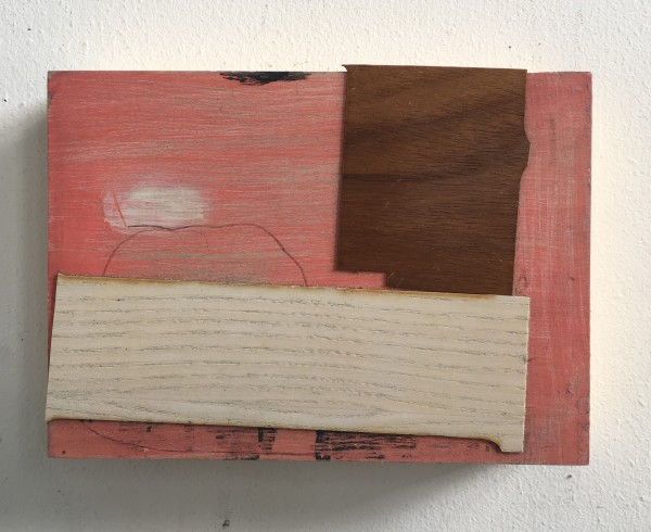 Two wood veneer attachments over pink painting by MaryAnn Puls