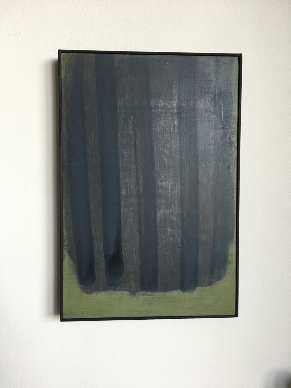 Vertical black on black stripes on green by MaryAnn Puls
