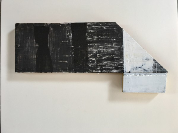 Horizontal wood shape with paint, wax and 1 additional rectangular attachment of the same. by MaryAnn Puls