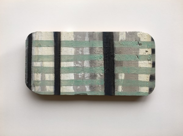 Plaid / grid light backgound with light green and dark lines by MaryAnn Puls
