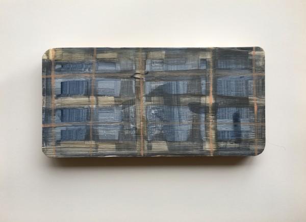 Plaid or grid over found wood shape - medium blue, tan, light peach by MaryAnn Puls