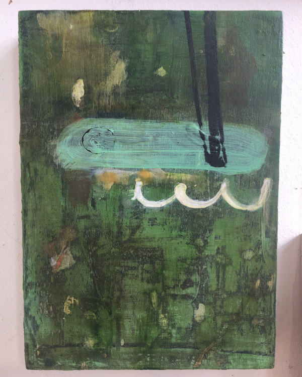 Small green painting with horizontal capsule shape by MaryAnn Puls
