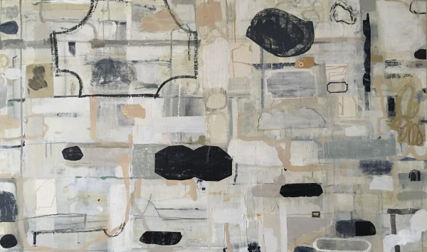 Horizontal painting with various shapes with carbon paper by MaryAnn Puls