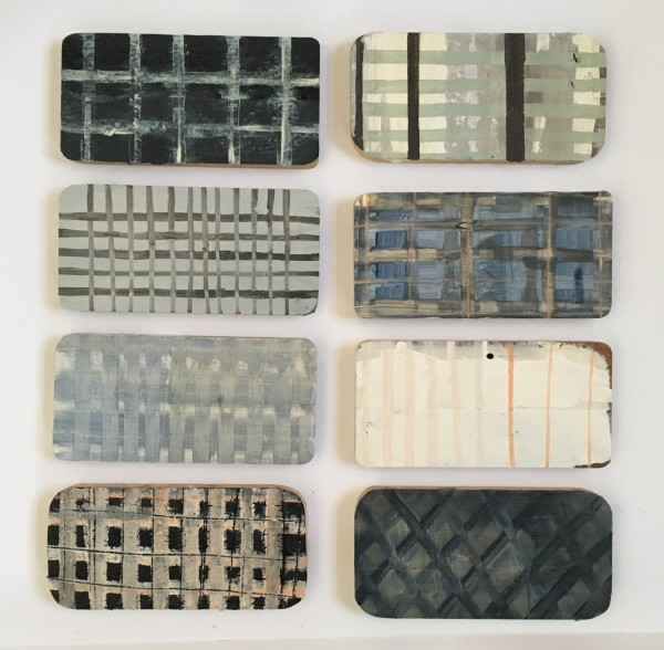 8 painted boards - grid / plaid by MaryAnn Puls