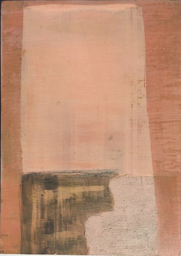 Mostly pink painting with two shapes at bottom by MaryAnn Puls