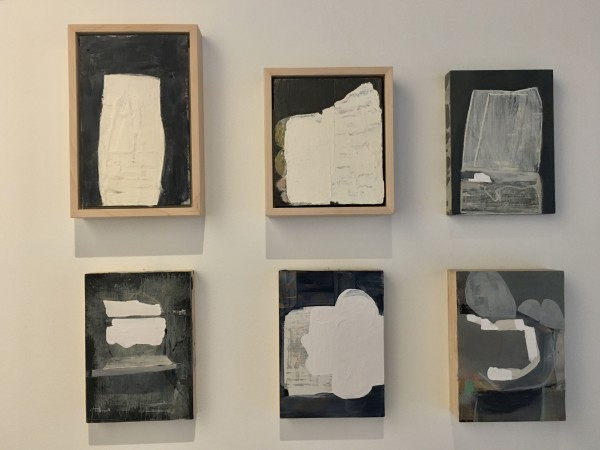 six small paintings with white shapes by MaryAnn Puls
