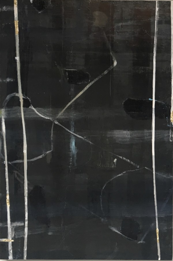 Vertical painting with white lines by MaryAnn Puls