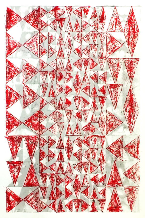 Layered Triangles #4 (Gray & Red) by Bill Brookover