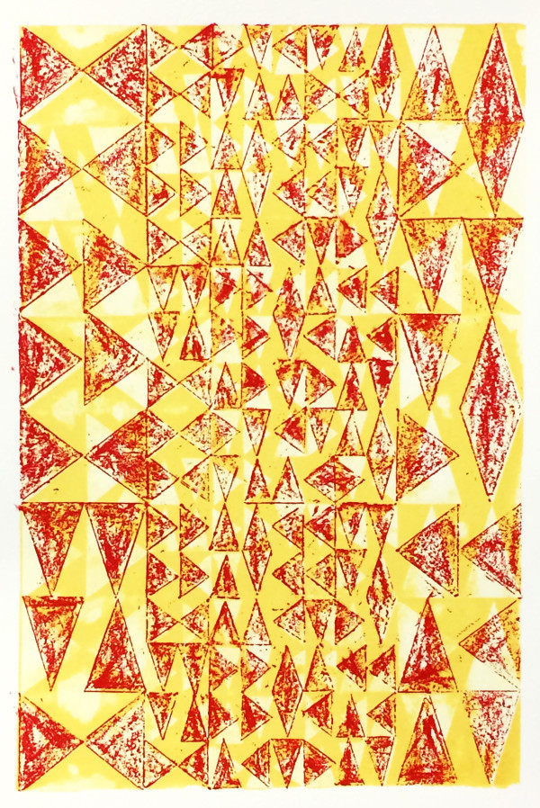 Layered Triangles #1 (Red & Gold) #2 of 3 by Bill Brookover