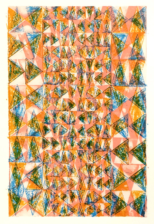 Layered Triangles #3 (Pink, Orange & Blue) #1 of 2 by Bill Brookover