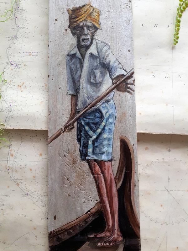 Boat Man Paddle by Elena Merlina