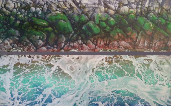 Diptych - Seafoam & tidal stone by Jan Poynter