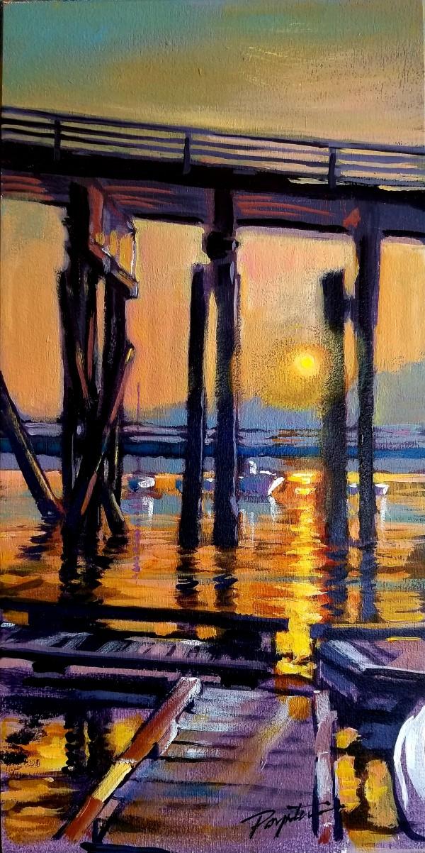 """smokey dawn - Gibsons Wharf"" by Jan Poynter"