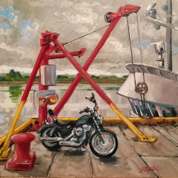 """Harley on the Dock - Steveston BC"" by Jan Poynter"
