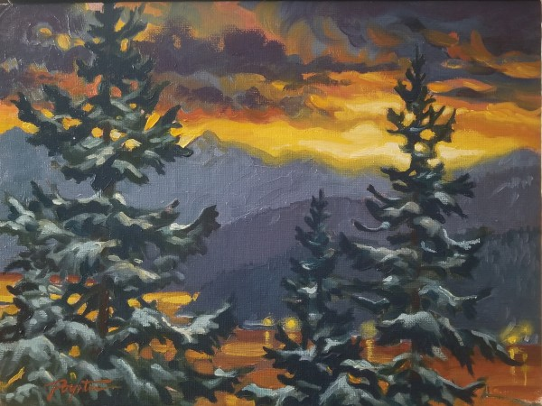 """""""Snow Day - dawn"""" view from the Studio by Jan Poynter"""