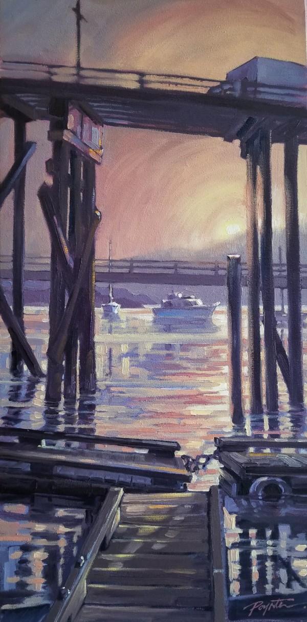 Sunrise Smoke - Gibsons Landing wharf by Jan Poynter