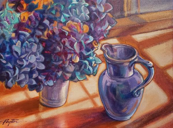 Winter sun- hydrangea blues by Jan Poynter