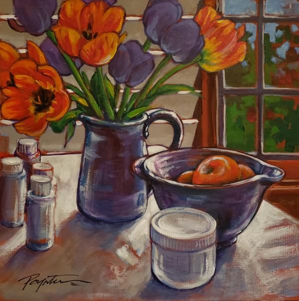 """Tulips & bowl - Studio"" by Jan Poynter"