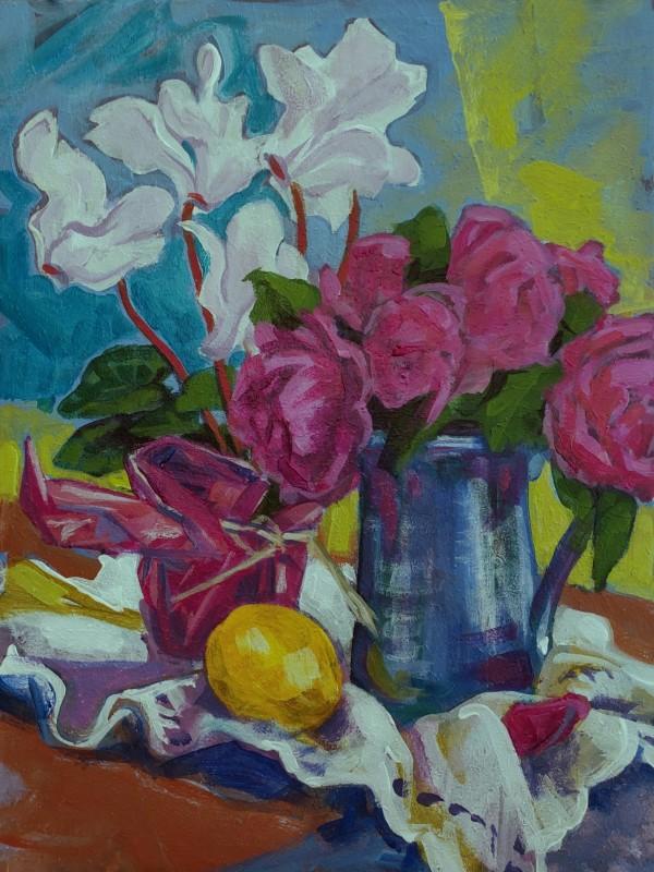Cyclamen & Roses. Lemon by Jan Poynter