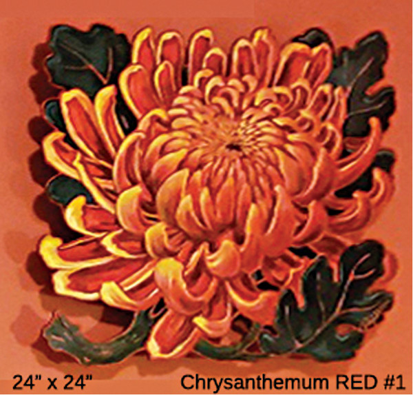 LIVE EDGE  Chrysanthemum RED #1 by Jan Poynter